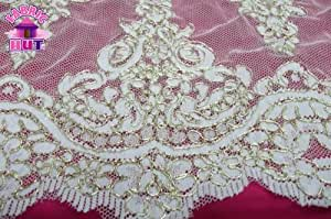 """LT 12 IVG Gold & Ivory 12"""" Alencon Lace Remembrance Trim By the Yard"""