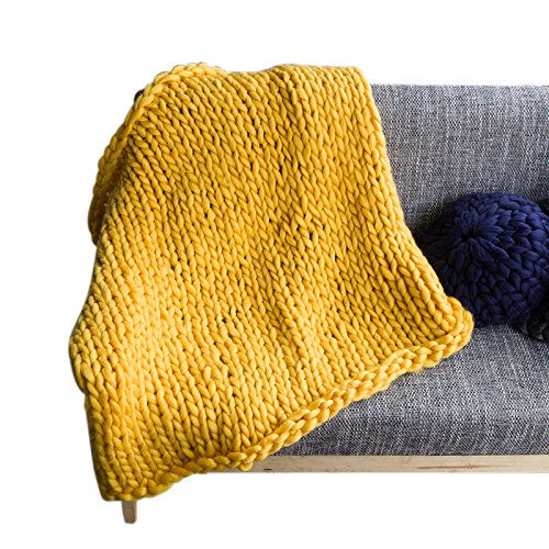 Giant Throw Blanket (Per Giant Chunky Yarn Knit Handmade Blanket Extra-Large Thick Knitting Knitted Throw Blanket Fro Bed Sofa Baby Pet-Yellow,M)