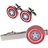 Main Street 24/7 Marvel's Captain America Silvertone/Enamel TIE Clip & Cufflinks Set