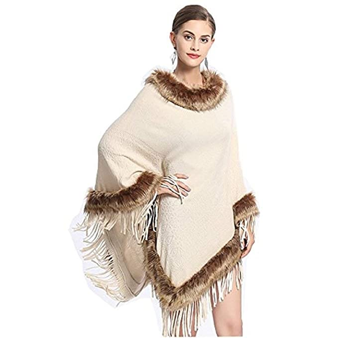 Capa Mujer Elegantes Invierno Piel Sintética Largos Abrigos Borlas Anchos Casuales Fiesta Outerwear Outwear Fashion (Color : Beige, Size : One Size): ...