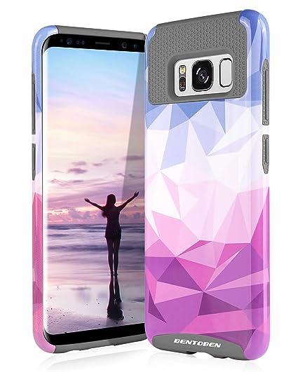 new product 22a7b eca68 Galaxy S8 Case, Samsung Galaxy S8 Case, BENTOBEN Shockproof 2 in 1 Slim  Hybrid Hard PC Soft TPU Geometric Diamond Pattern Protective Phone Cases  Cover ...