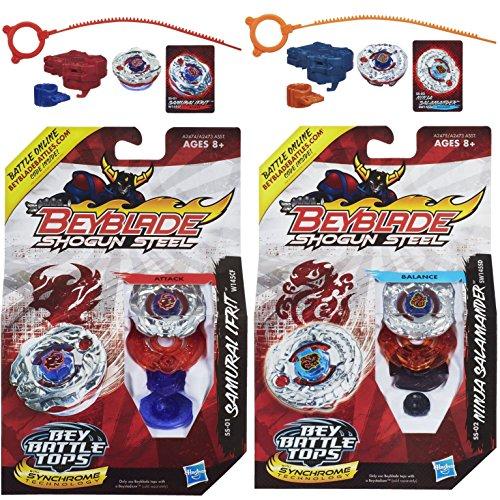 Beyblade Shogun Steel Samurai Ifrit W145CF SS-01 Top & Ninja Salamander SW145SD SS-02 N Top Bundle