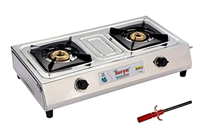 98cc1a868 Golden Surya Accord Stainless Steel -2 Burner Gas Stove +PIEZO Electronic  Gas Lighter (