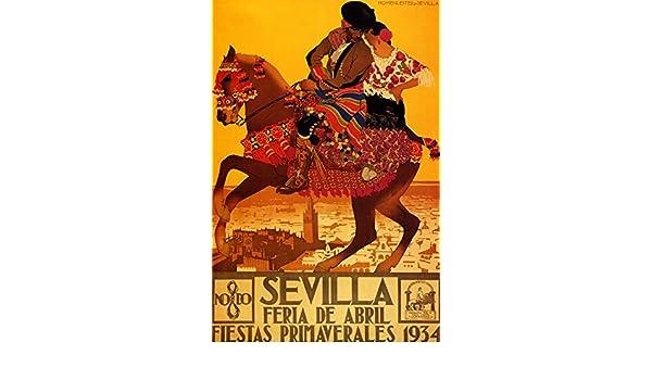 Amazon.com: 1934 Sevilla Feria de Abril & Fiestas Primaverales - Spanish Travel Poster Reproduciton (24