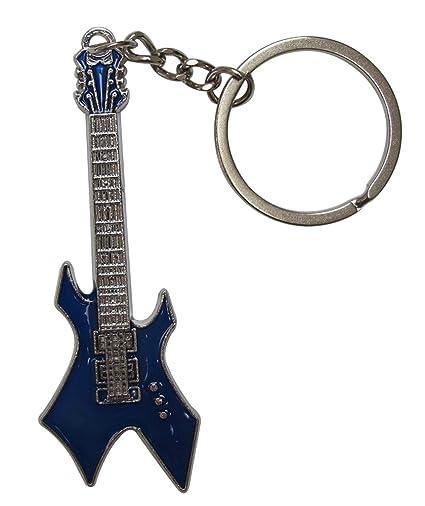 Llavero de acero plateado diseño de guitarra eléctrica ...