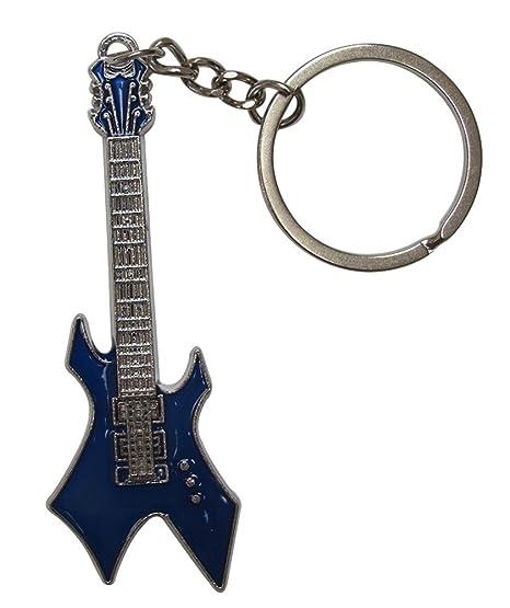 Llavero de acero plateado diseño de guitarra eléctrica estilo hard-rock. (Azul)
