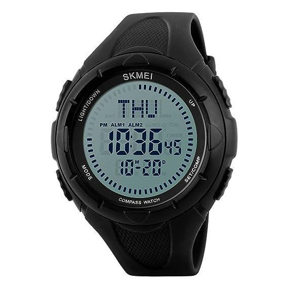 Relojes deportivos para hombre con brújula de tiempo mundial y cuenta atrás, 50 m,