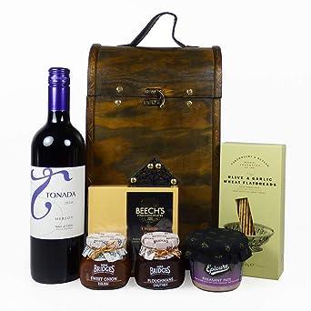 Tonada Red Wine Gift Carrier con artículos de delicatessen ...