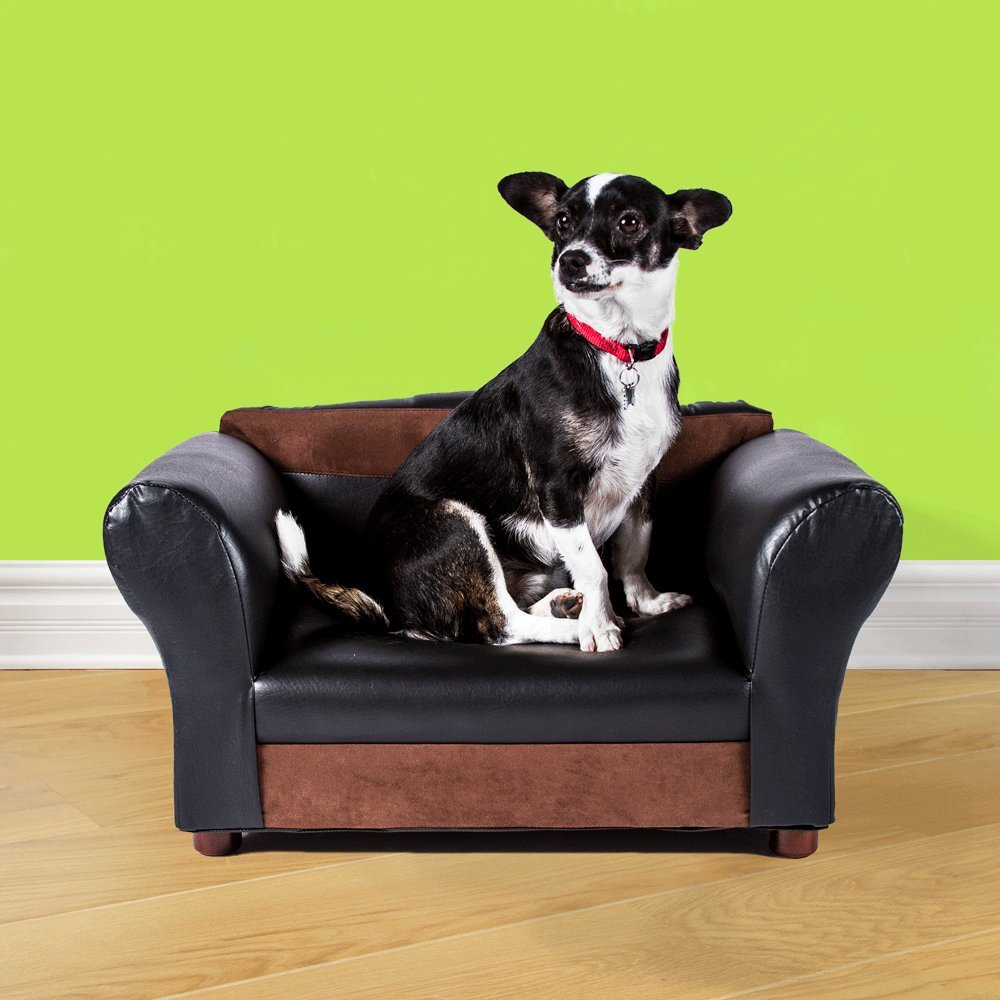 Mini Sofa Black and Brown Pet Bed