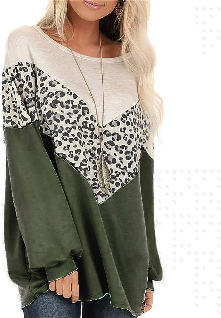 Camiseta de Manga Larga Mujer Otoño Verano Moda Leopardo ...