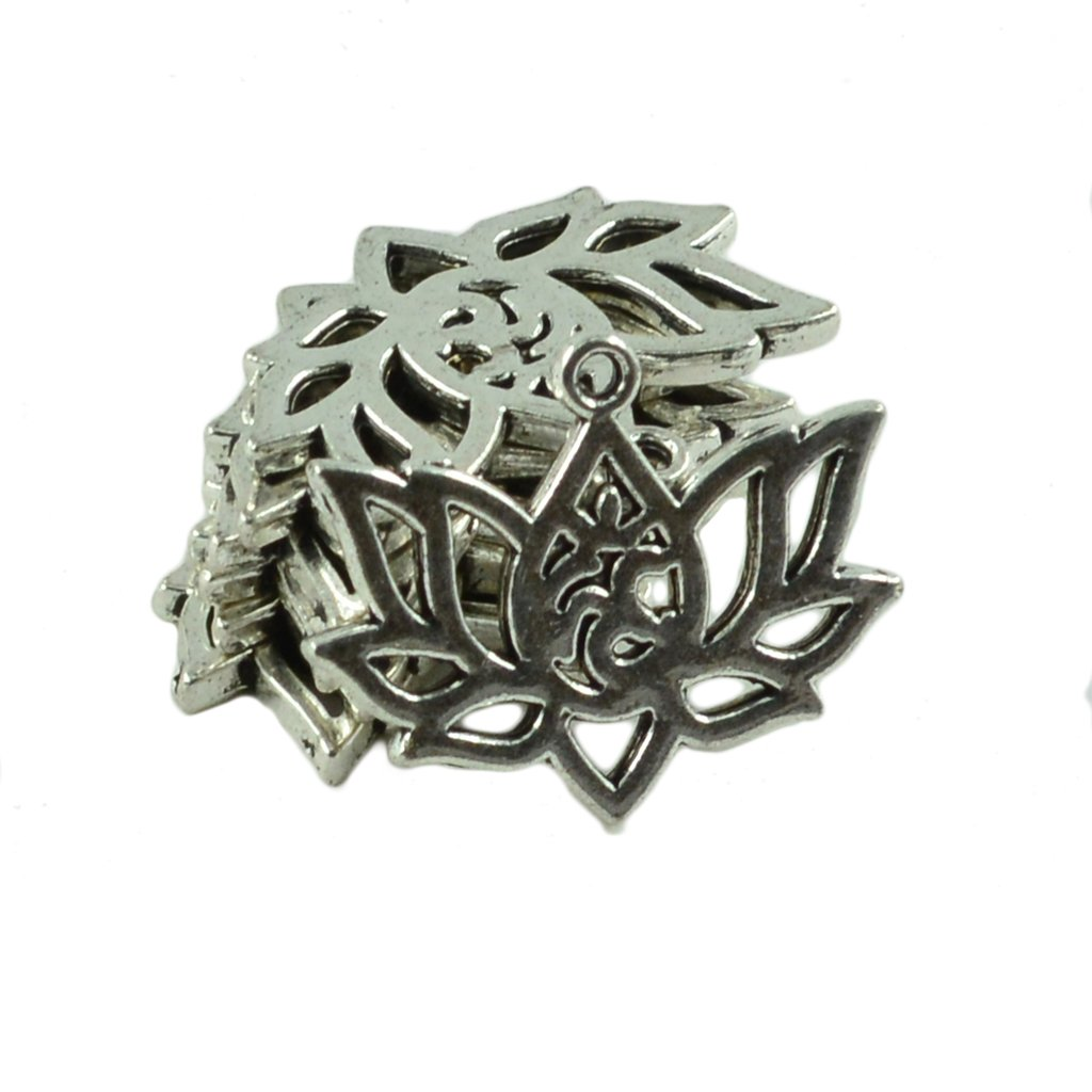 Bead Accessoires Lotosblume Form Halskette Armband Silber 10x DIY Schmuck Retro