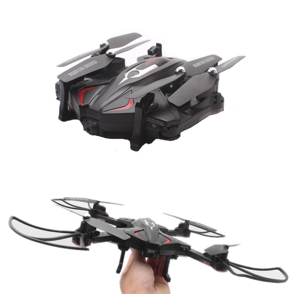 TK110HW Faltbarer RC Drohne, OKPOW 2.4G 6-Achsen Gyro Drohne, 360 Grad Drehung Höhenhaltung Schwerkraft-Sensor APP Steuerung Aerial Drohne mit FPV 0.3MP 720P HD Kamera und LED-Licht, Schwarz