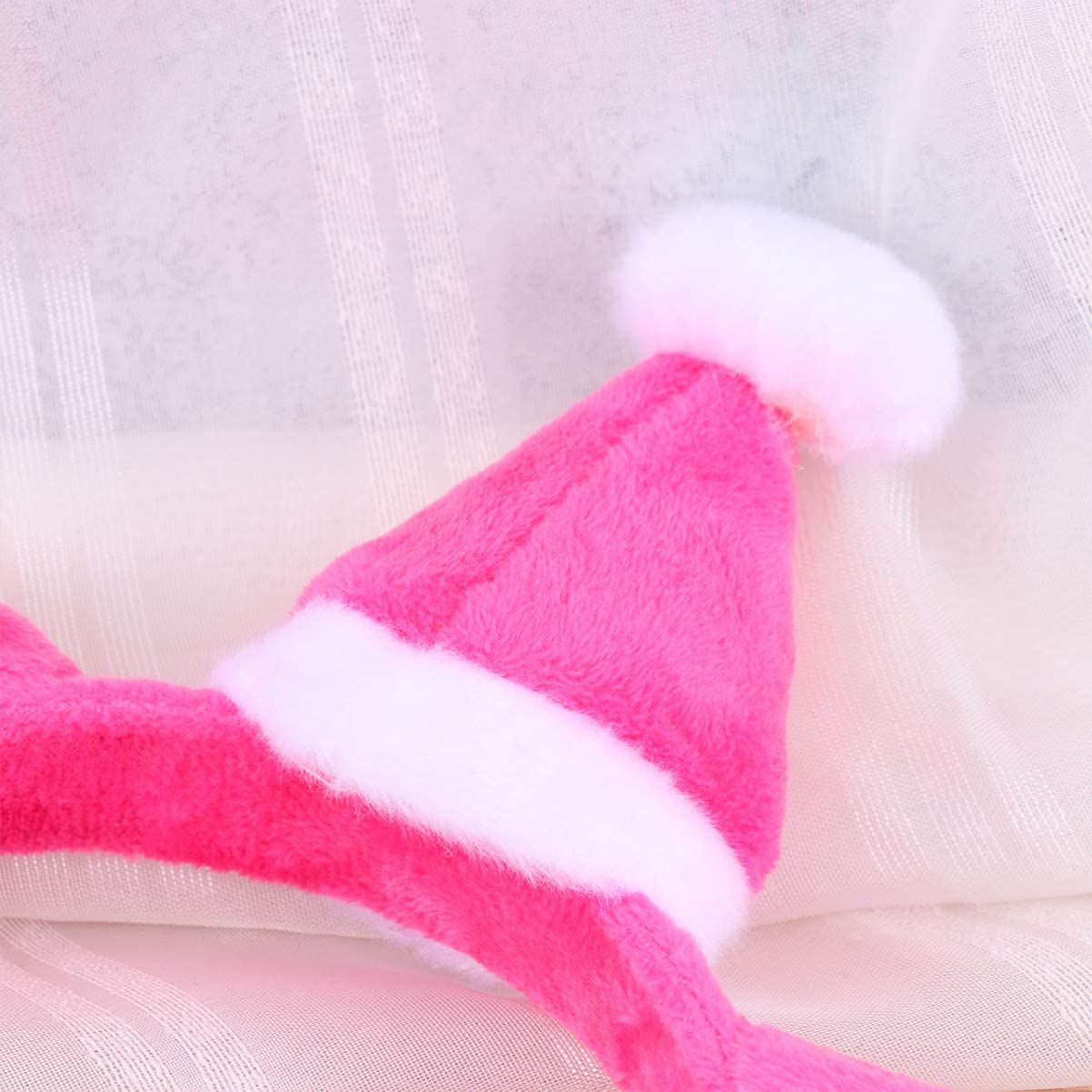 rosa Amosfun diadema de gato de navidad diadema de felpa sombrero de santa top tocado de banda para el cabello tocado para invierno fiesta festiva fiesta de disfraces suministros