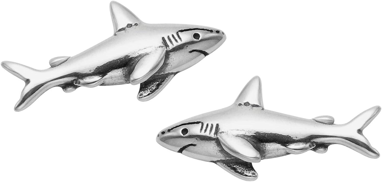 Amazon Com Sterling Silver Shark Stud Earrings Clothing