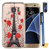 Galaxy S7 Edge Case, S7 Edge - Case, SeiroKern [Slim-Fit] [Clear Transparent] Thin Rubber Flexible Gel Soft TPU Skin Case Cover W/ Protector & Stylus (For Samsung Galaxy S7 Edge, Red Flower Tower)