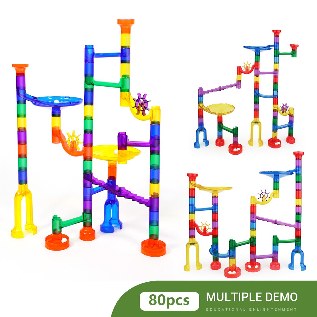 Marble Runs Set Kids Toys 80 Pcs Marble Race Track Game Marble Race Coaster Set Learning Toys Educational Construction Building Blocks Christmas Birthday Gifts STEM Toys Kids, 92 PCS by K Toys (Image #5)