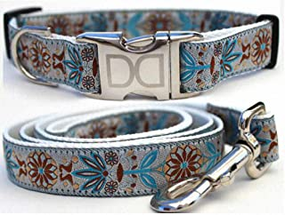 "product image for Diva-Dog 'Boho Morocco' Custom 5/8"" Wide Dog Collar with Plain or Engraved Buckle, Matching Leash Available - Teacup, XS/S"