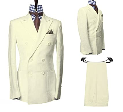 948e96edea Men Ivory Cotton Linen Double Breasted Blazer Jacket with Pants Wedding  Groomsmen Suits