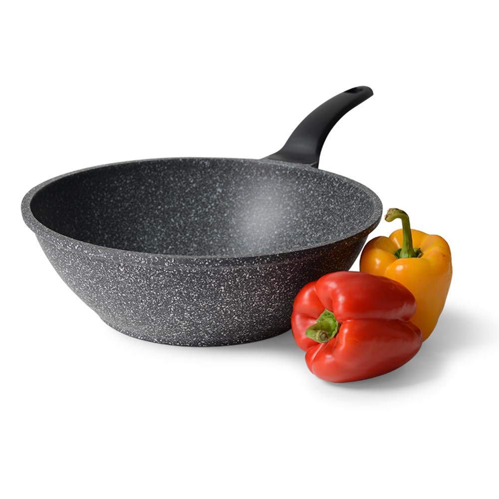 ProCook Granite Stone Non-Stick Wok - 30cm - Large Induction Stir-Fry Pan with Tough Stone-Reinforced Coating and Heat-Resistant Handle