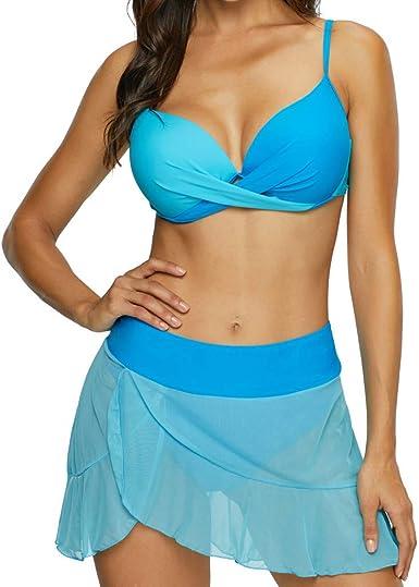 RISTHY Conjunto de Bikini Mujer de Cintura Alta Traje de Baño de 3 ...