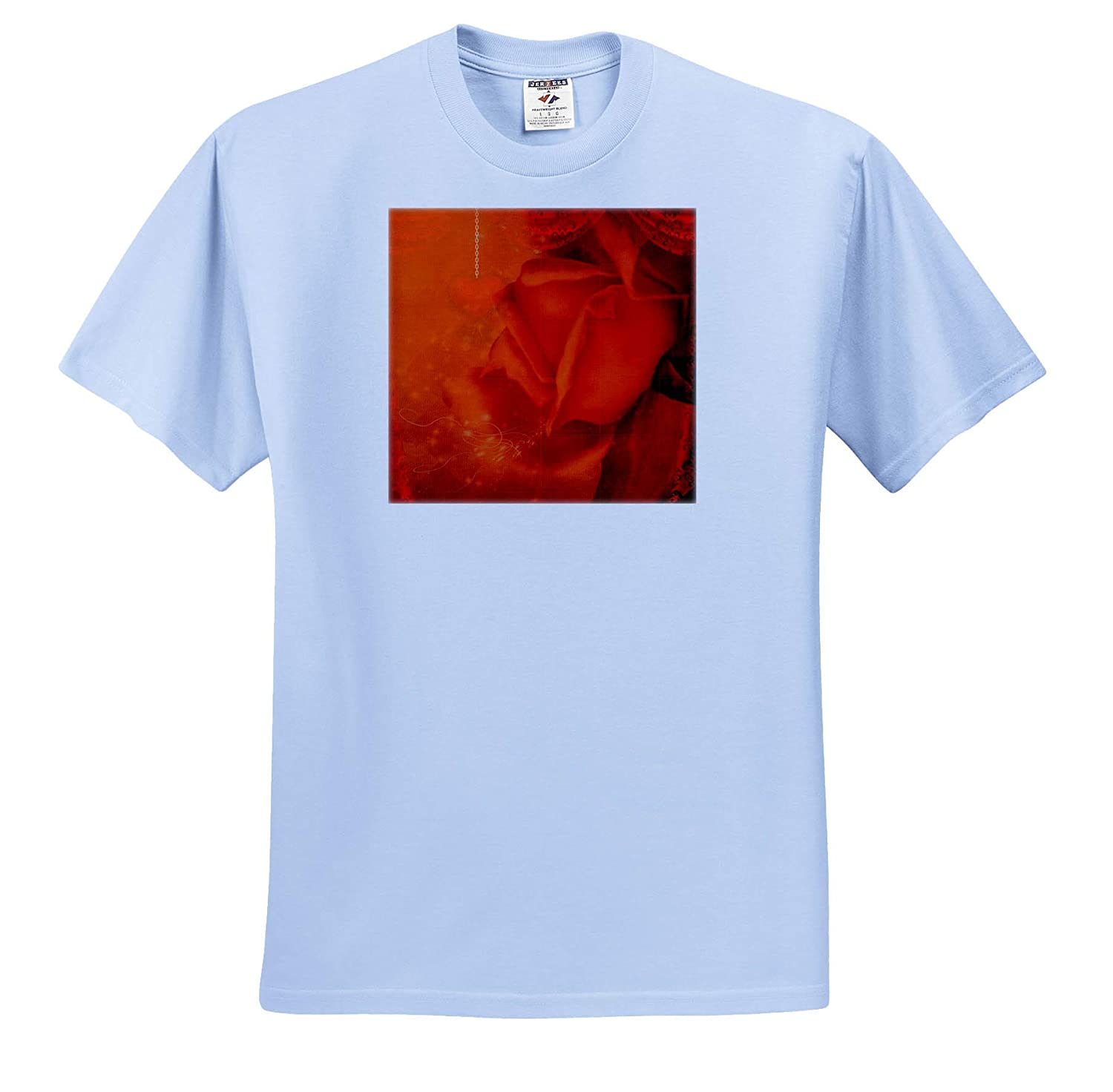 Wonderful Roses in Soft Colors with Heart 3dRose Heike K/öhnen Design Nature Flowers T-Shirts