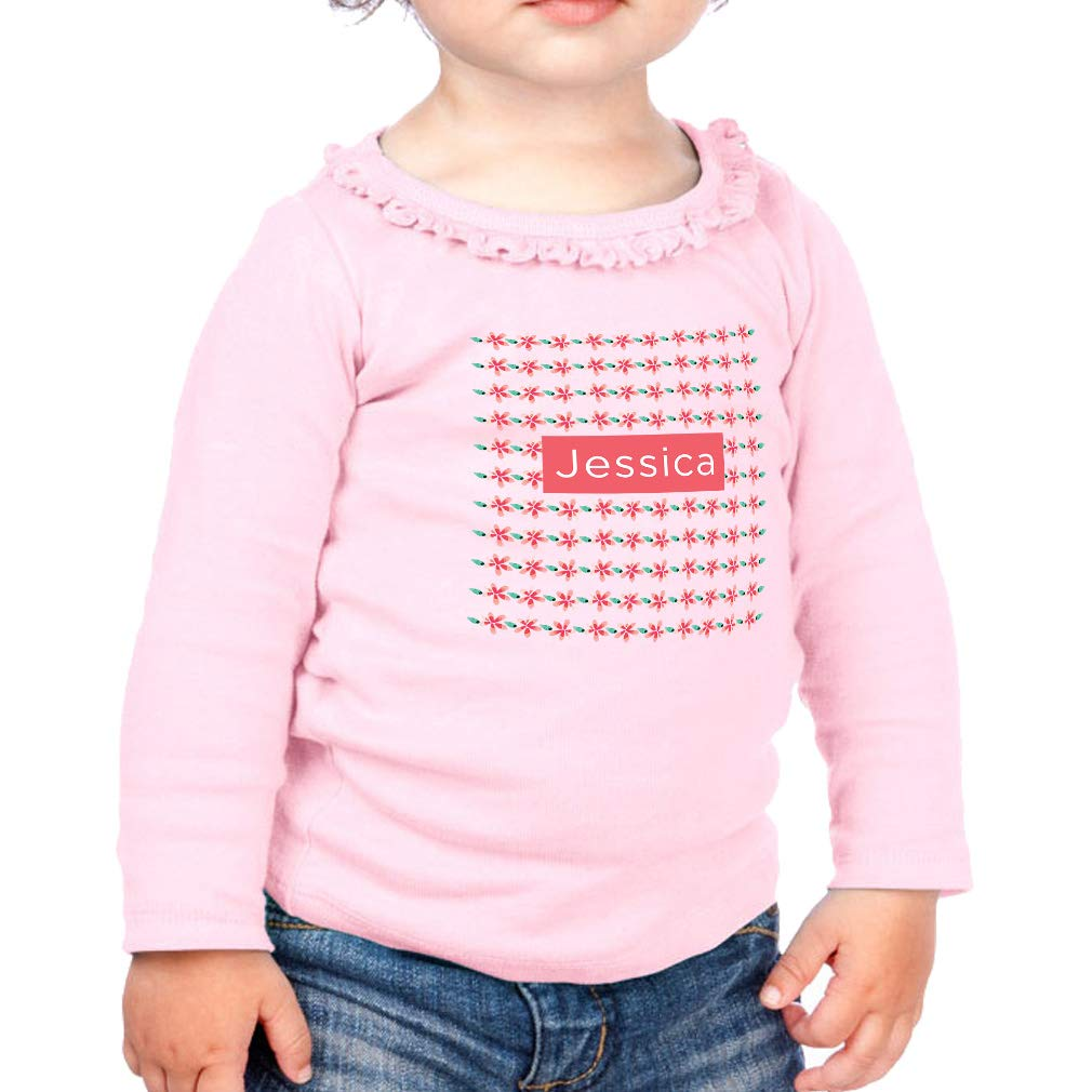 Personalized Designs Flowers Cotton Toddler Long Sleeve Ruffle Shirt Top