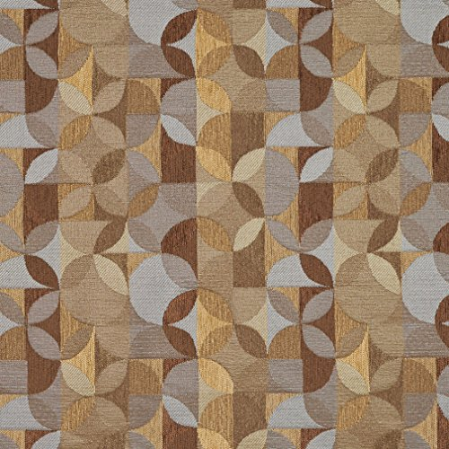 Aloe Beige and Brown Blue Circle Stripe Abstract Chenille Upholstery Fabric by the yard
