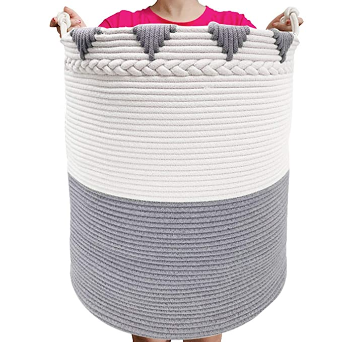 TerriTrophy 2020 XXLarge Laundry Hamper with Handles Rope Large Clothes Hamper 22.6 H x 18 W Tall Laundry Basket Woven Storage Basket for Blankets Nursery Basket Throws Towels Toys