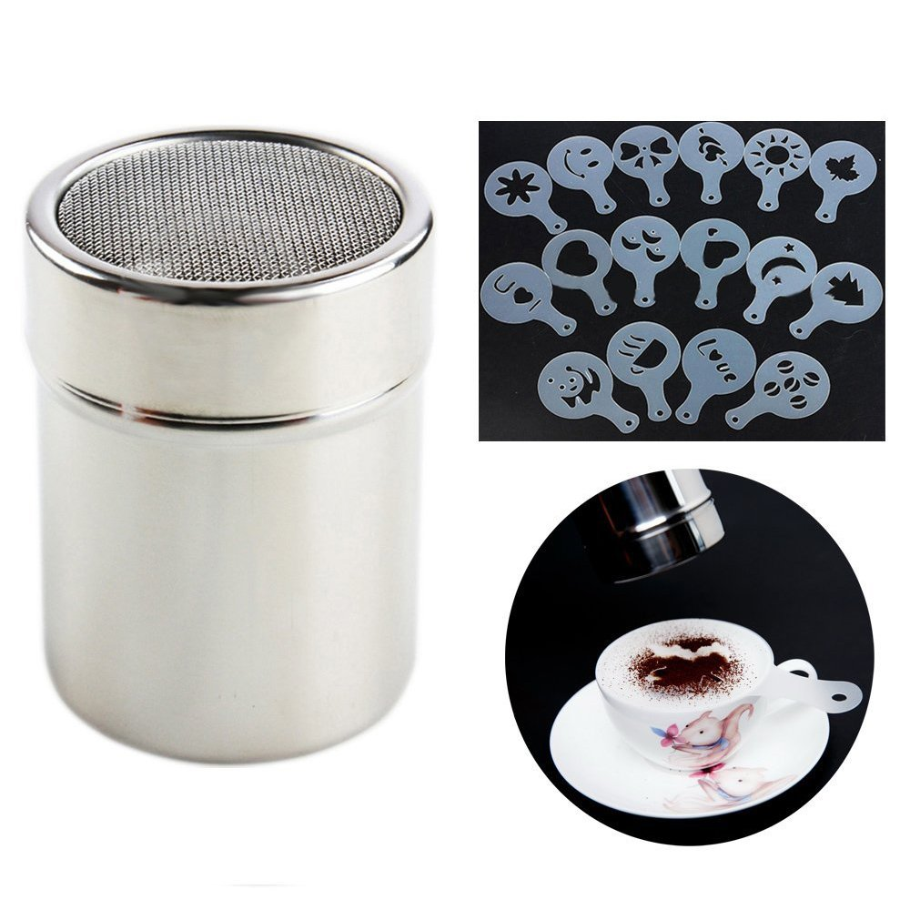 Stainless Steel Coffee Shaker Duster Spray + 16pcs Cappuccino Latte Art Coffee Stencils Template Grew