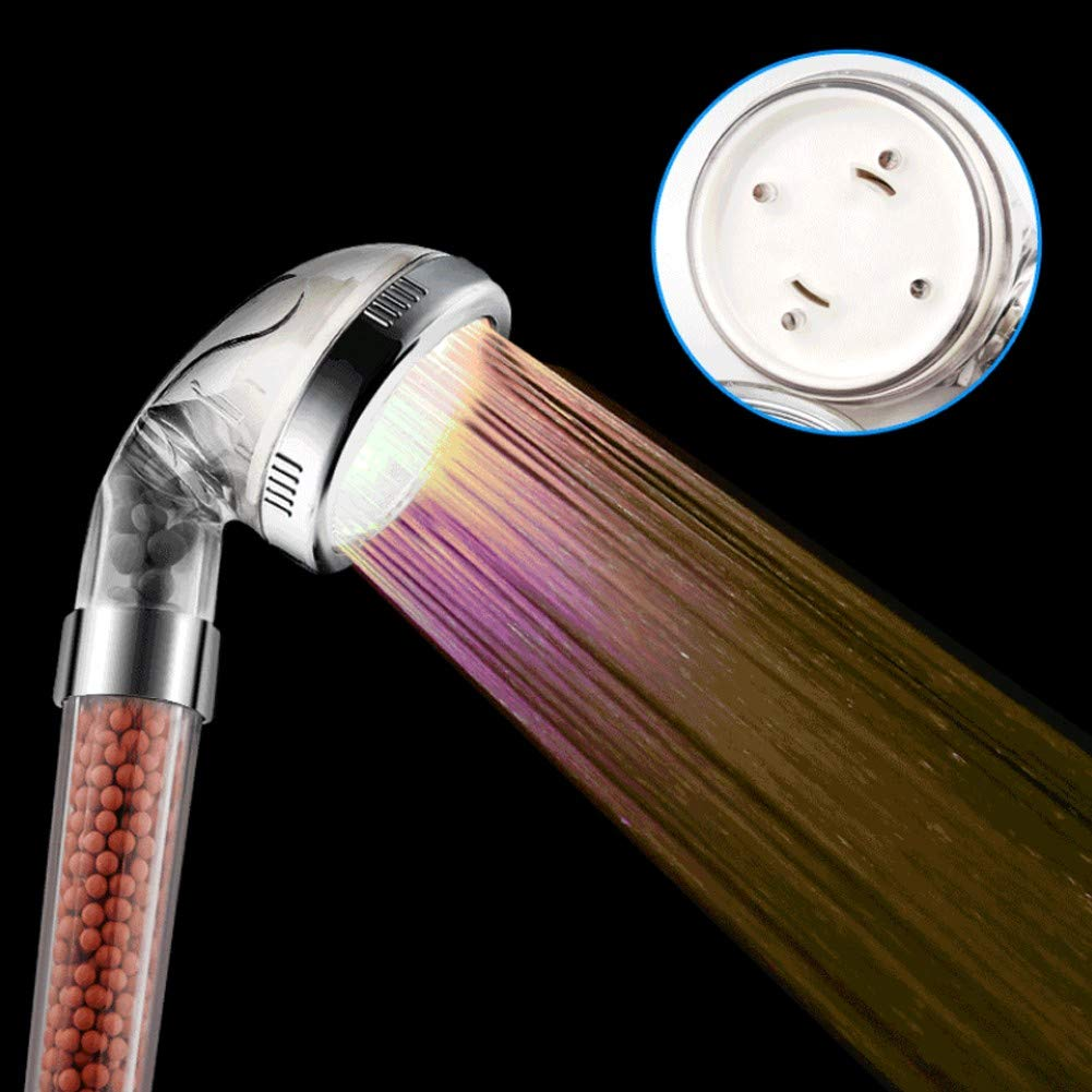 YYBFG LED Shower Head, InGoo 7 Colors Changing Light Handheld High Pressure Spa Shower Head Negative Ion Sprinkler and Chlorine Double Filter Saving Water Showerhead