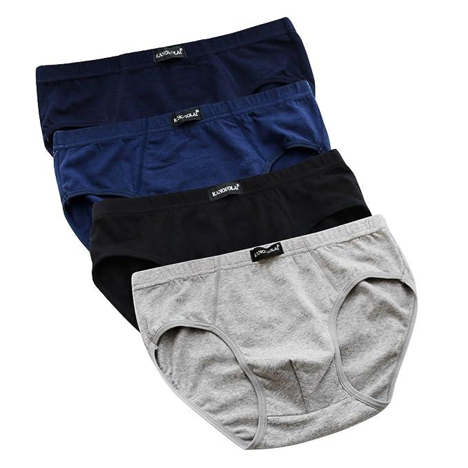 55ff205fe Qianbeili.vk Men s Underwear Elastic Breathable Cotton Sexy Loose Plus Size  Briefs 4Pack