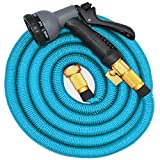 Cleeacc 50ft Expandable Garden Hose Kink-Free,Copper Fittings and Strengthen Fabric ,with 7 Pattern Spray Nozzle,High Pressure with Triple Expanding Latex Core for Car,Garden Patio Cleaning Blue