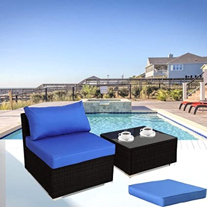 Amazon.com: Patio Sofa Middle Sofa w/Ottoman w/Extra Glass ...