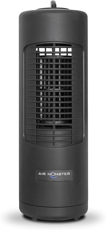 Air Monster Oscillating Vertical Tower Fan - 12 Inch Personal Desk Fan, 2 Speeds, Quiet Cooling, 60° Oscillation, Personal Small Bladeless Fan for Bedroom, Home Office, Desktop - ETL Listed, Black