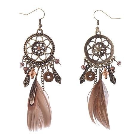 7ec68921d083 JUNGEN Pendientes de Atrapasueños Aretes de Moda con Pluma Elegantes  Accesorios de joyería para niñas