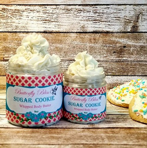 Sugar Cookie Whipped Body Butter, natural lotion, organic, 8oz jar, made with shea butter, mango butter, coconut oil, almond oil by Butterfly Bliss Products