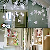 Bidlsbs 1 Set 3D String Paper Card White Snowflake Banner Merry Christmas Flowers Garland Flag Bunting for Wedding Holiday Festival Party New Year Home Decor 3M