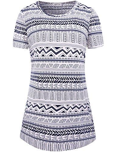 Aphratti Womens Zig Zag Pattern T Shirt