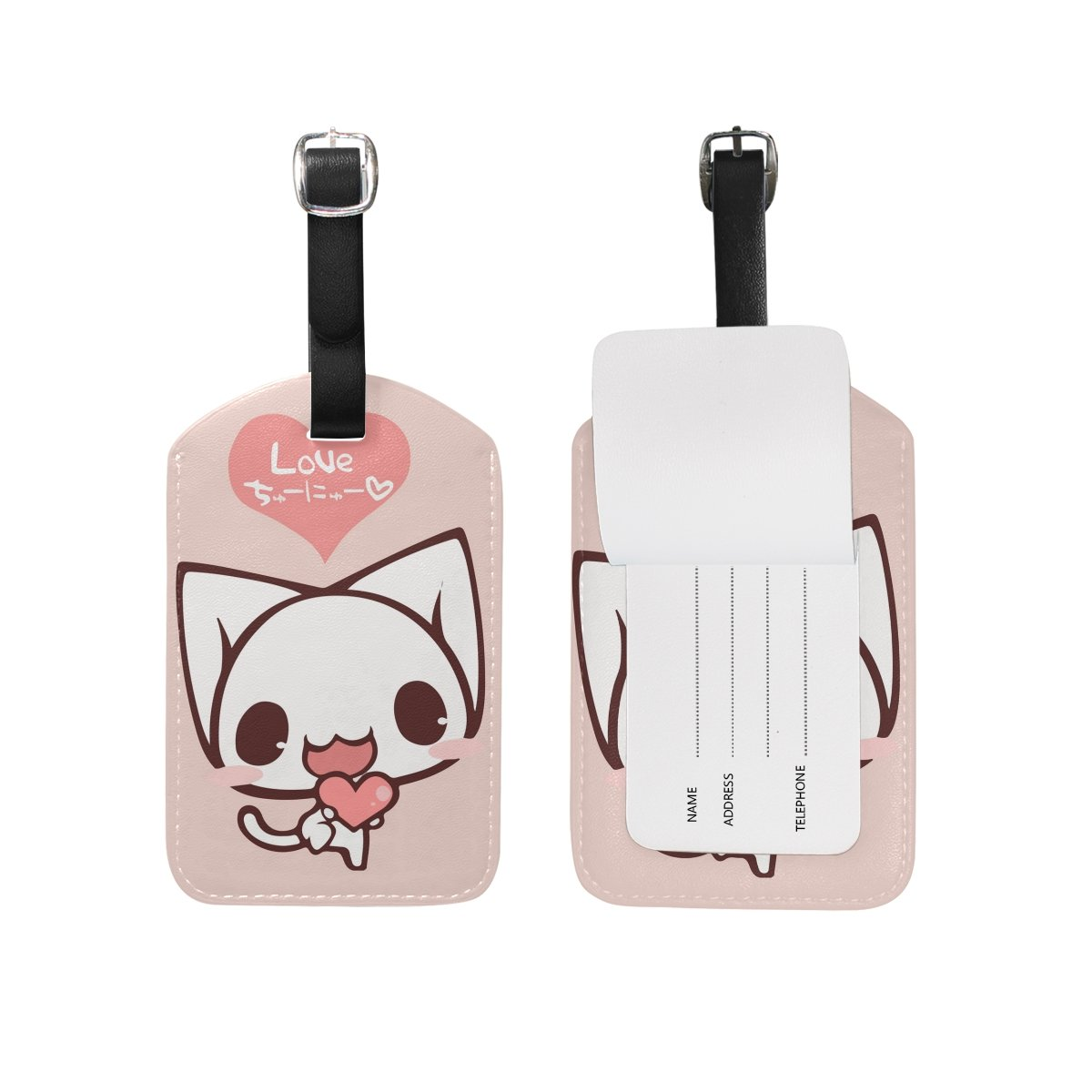 Cute Pink Love Cat Travel Leather Luggage Baggage Suitcases Tags Label Set of 2