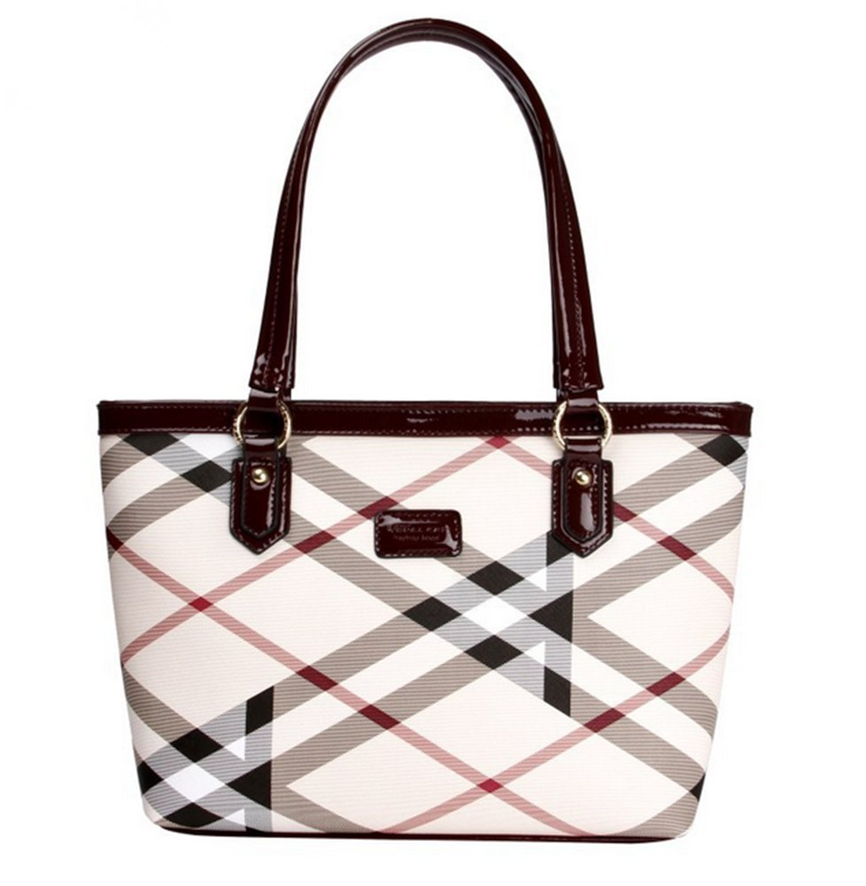 Lady Womens Designer Stylish Grid Top-Handle Handbag Leather Check Shopping Tote Shoulder Bag