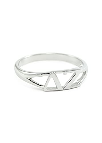 The Collegiate Standard Sterling Silver Delta Zeta Sorority Ring with Greek  cut-out letters