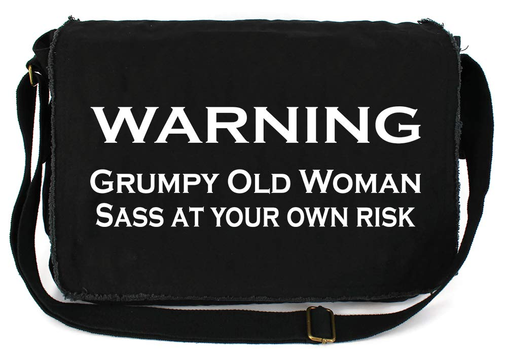 Tenacitee Grumpy Old Woman Green Brushed Canvas Messenger Bag
