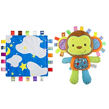 c9f5658e9a232 Amazon.com : INCHANT Lovey Baby Tag Blue Cloud Security Blanket ...