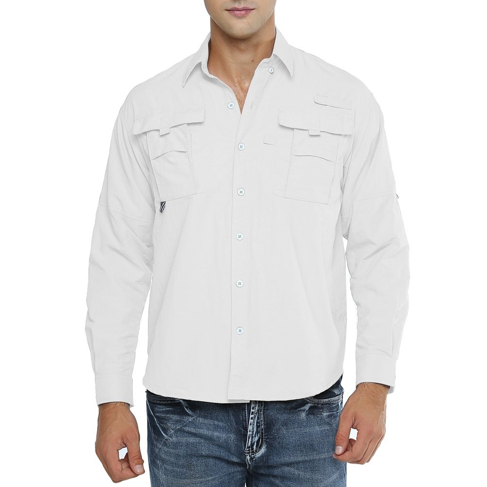 Jessie Kidden Men's Quick Dry Sun UV Protection Long Sleeve Fishing Shirts for Work Travel Sailing Golf Military #5052-White, Large