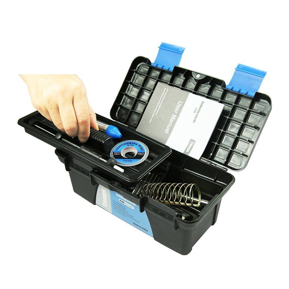 Kit del soldador Electrico, Aogolouk Soldadores de estaño de Temperatura Ajustable, 8-en-1 60W 220V, Soporte para soldadura, Bomba Desoldadora, ...