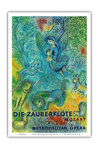 Die Zauberflöte (The Magic Flute) - Mozart - Metropolitan Opera - Vintage Concert Poster by Marc Chagall 1966 - Master Art Print - 12in x 18in