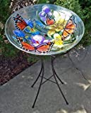 Birdbath - Buttefly Garden Art Glass Birdbath on Metal Stand - Monarch Butterfly & Flower Bird Bath