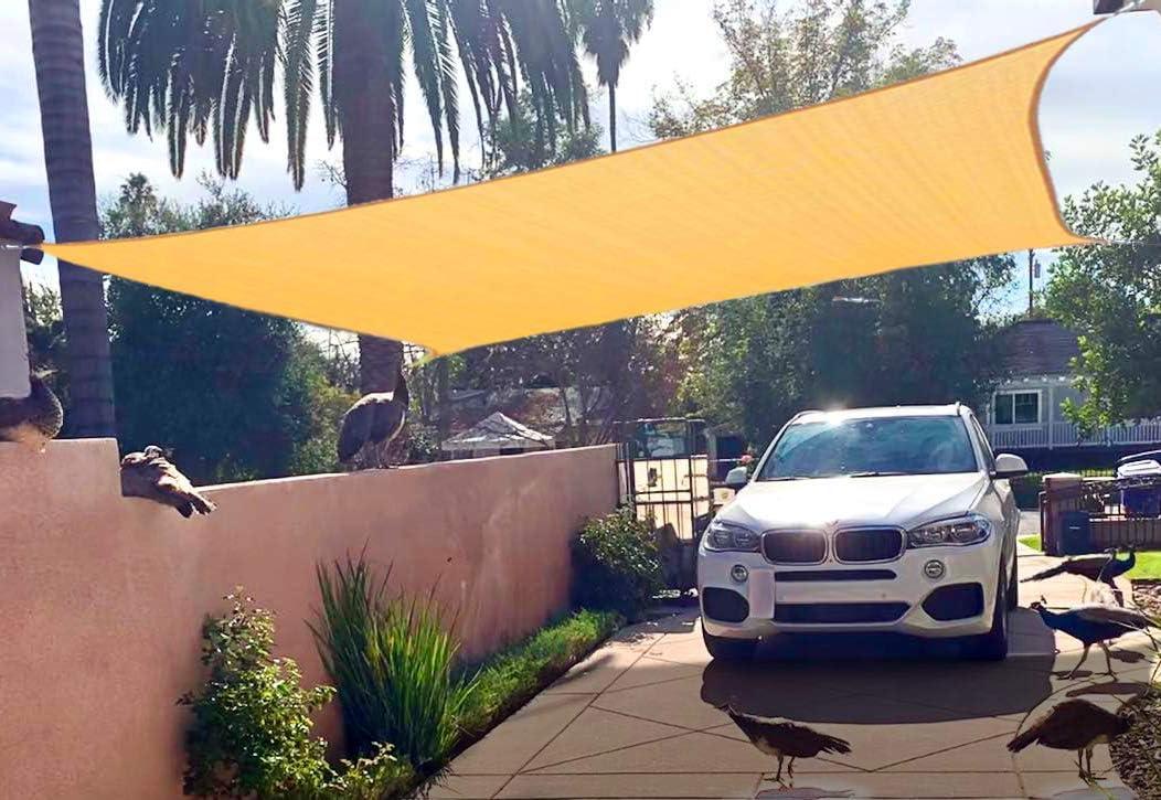 Outdoor Cover Awning Shelter For Pergola Backyard Garden Yard Sand Color Euchirus Sun Shade Sail Canopy 6 X 10 Rectangle Shade Cloth Uv Block Sunshade Fabric Shade Sails Patio Lawn Garden