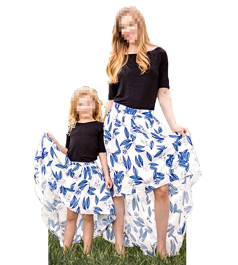 Mother Daughter Matching Dress Mommy and Me Floral Print High Low Hem 2Pcs Skirt Set