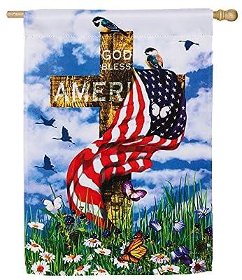 God Bless America Cross Flag